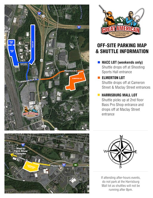 Great American Outdoor Show Shuttle/Parking Map